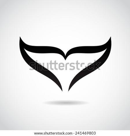 Whale tail icon isolated on white background. - stock photo