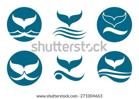 Whale tail monochrome logo set. Isolated on white background. - stock photo