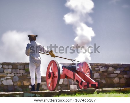 What a Blast - A cannon is fired during ceremonies at Fort Ticonderoga, New York - stock photo