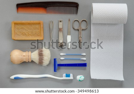 What a man needs in the bathroom - stock photo