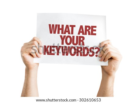 What Are Your Keywords card isolated on white - stock photo