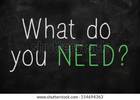 What do you need concept written on blackboard - stock photo