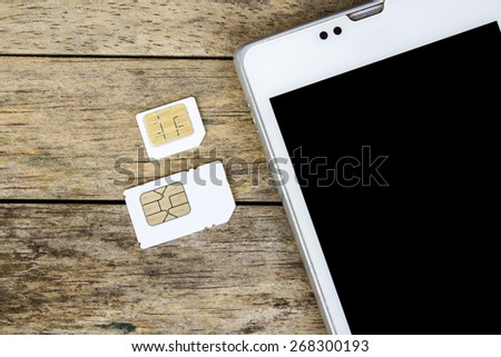 What's type of sim card can use on your mobile, smart phone, black screen - stock photo
