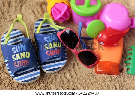 What to take for kids on beach - stock photo