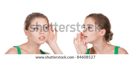 What? women said, woman listening to gossip, isolated on the white background - stock photo