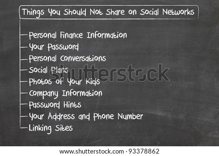 what you should not share on social media - stock photo