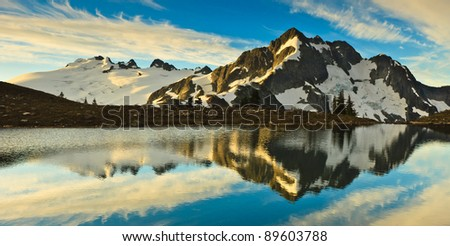 Whatcom Peak from Tapto Lakes - stock photo