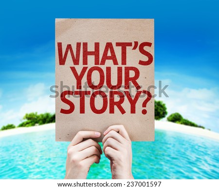 Whats Your Story? card with a beach on background - stock photo