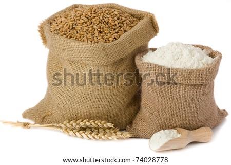 Wheat and flour in small burlap sacks - stock photo