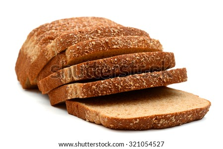 wheat bread brown slices on white background  - stock photo