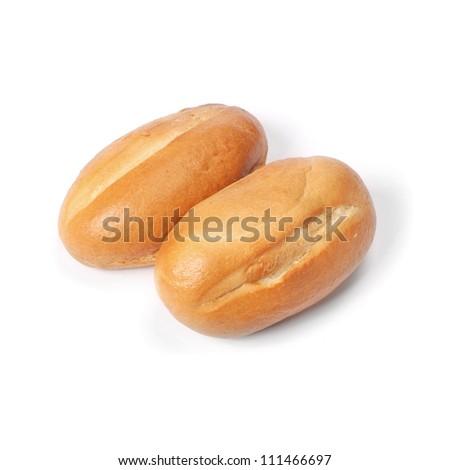 Wheat buns isolated on white - stock photo