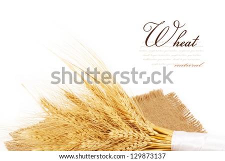 Wheat ears on sacking.isolated on white background - stock photo