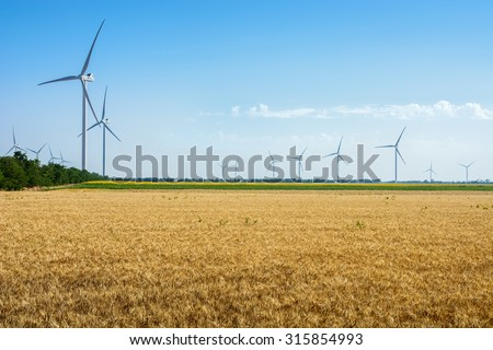 Wheat field and eco power, wind turbines - stock photo