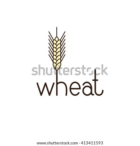 Wheat lettering with ear of wheat on letter h isolated on white background. Logo template. Design element - stock photo