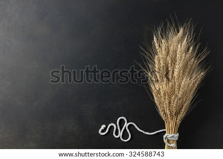 wheat on black background with rope. top view - stock photo