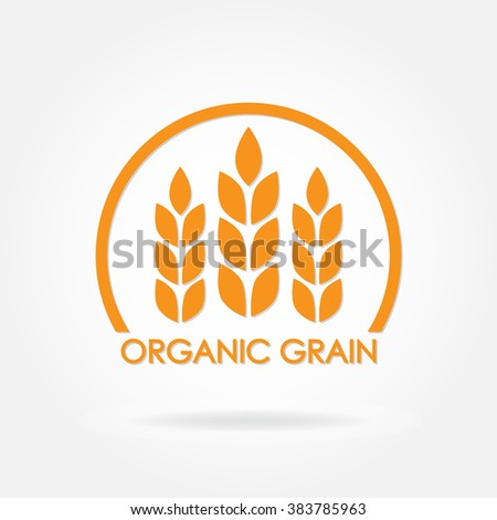 Wheat or rice icon. Organic grain symbol. Design element for organic products, bakery, bread, healthy food. - stock photo