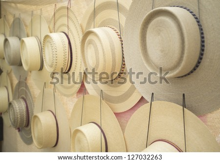 Wheat straw hats braided handmade traditional crafts Chile - stock photo