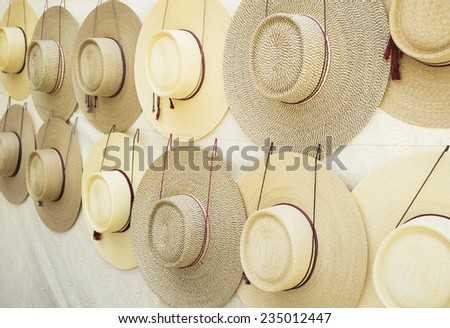 wheat straw hats , chilean traditional hat - stock photo