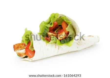 wheat tortilla with chicken and vegetables on white background - stock photo