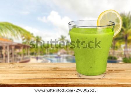 Wheatgrass, green, lemon. - stock photo