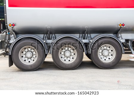 wheel and tire of truck and trailers - stock photo