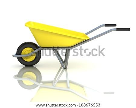 wheel barrow isolated - stock photo