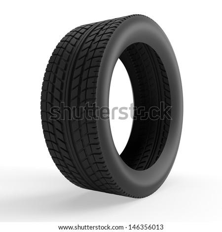 Wheel isolated on white. 3d render illustration - stock photo
