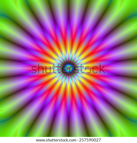 Wheel of Color / A digital abstract fractal image with a color wheel design green, violet, red, yellow and blue. - stock photo