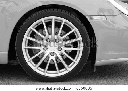 Wheel of new sports car 1 - stock photo