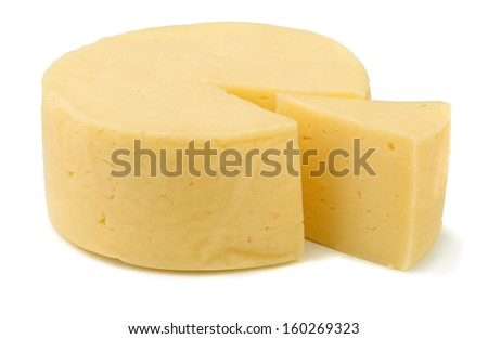 Wheel of traditional cheese isolated on white - stock photo