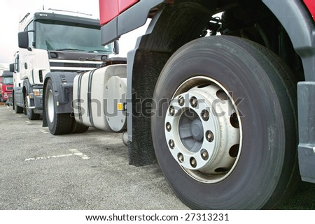 Wheel of Trailer Head - stock photo