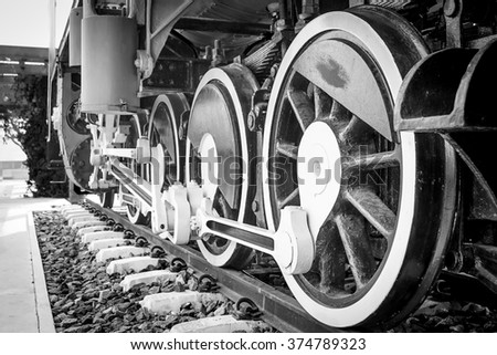 wheel of train with black and white tone - stock photo