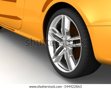 Wheel  on white. 3d illustration. - stock photo