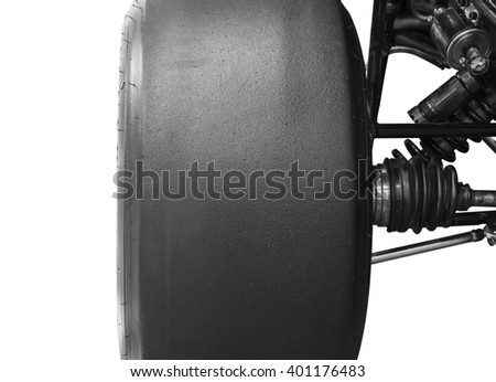 Wheel race car f1 isolated white background clipping path. - stock photo