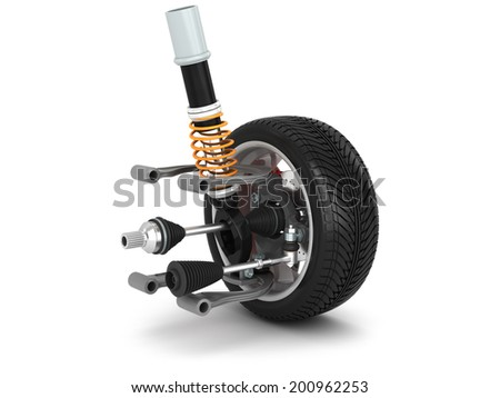Wheel, shock absorber and brake pads isolated on white background High resolution 3d  - stock photo