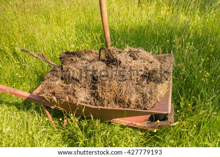 wheelbarrow full of manure and pitchfork on a meadow, closeup - stock photo