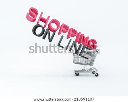 wheelbarrow shopping on line on white background - stock photo