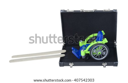 Wheelchair and Ramp for access in a Briefcase - path included - stock photo