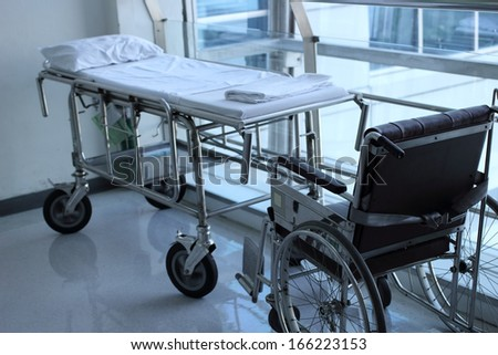 wheelchair and wheel bed for patient - stock photo