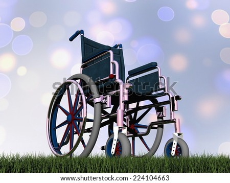 Wheelchair on the grass in bokeh background - 3D render - stock photo