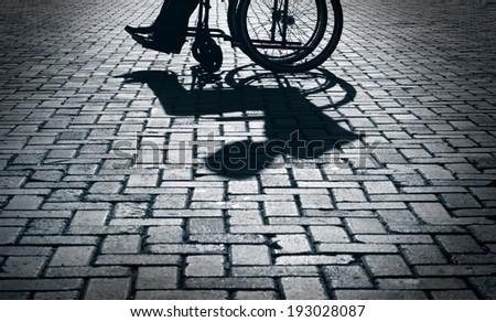 Wheelchair Silhouette - stock photo