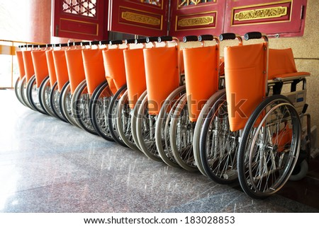 wheelchairs for patient - stock photo