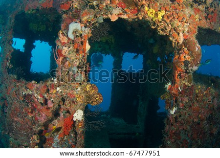 Wheelhouse of a shipwreck encrusted with coral growth,used as an artificial reef, picture taken in Broward County Florida. - stock photo