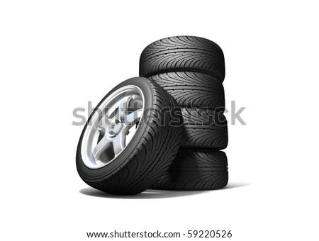 Wheels isolated on white. 3d illustration. - stock photo