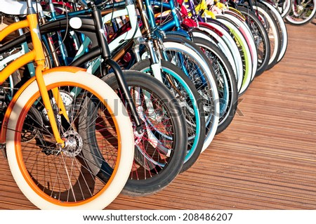 Wheels of bicycles - stock photo