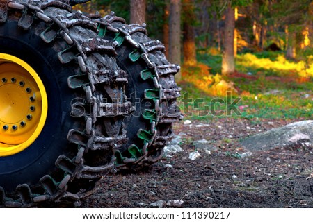 wheels of heavy vehicle used for deforestation - stock photo