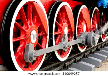 Wheels of Steam Locomotive - stock photo