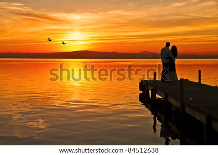 when love reaches the lake - stock photo