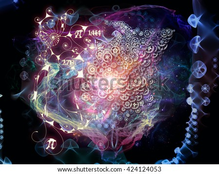 When Numbers Dream series. Composition of fractals,  natural forms and conceptual particles on the subject of math, design, magic, philosophy and science of nature - stock photo