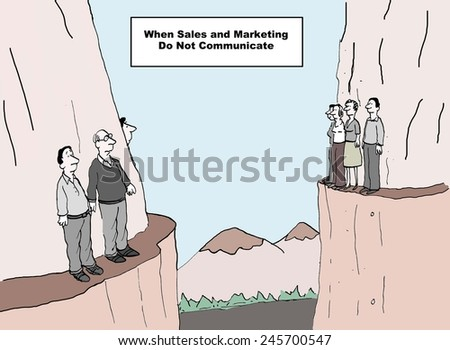 When sales and marketing do not communicate --- everything stops. - stock photo